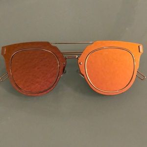 Gold tone Sunglasses with Flat mirrored lenses